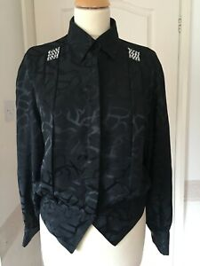 Vintage 80s Jacques Vert black blouse 10 - 12 diamante retro revival cufflinks