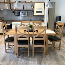 Oak Extendable Dining Table With 6 Chairs / Large Extending Dinner Table Harvard