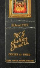 1930s W. J. Sutton Fuel Co. Coal Fuel Oil Coke Center at Third Milwaukee WI MB