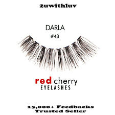 5 X Red Cherry 100 Human Hair Black False Eye Lashes #48