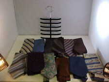 Neck Tie Lot of 12 Ties and Tie Holder Variety Colors and Prints Some Solid