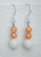 Orange shell and white quartz drop earrings silver tone hooks Approx. 4cm
