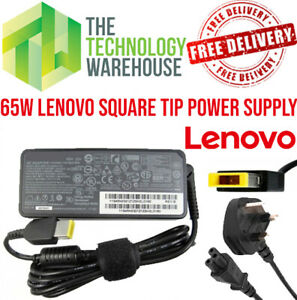 Genuine Lenovo 65W Charger Square - 20V 3.25A - AC Adapter + Power Cable