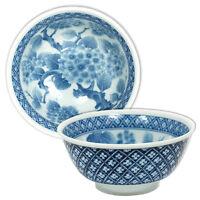 "2 PCS. 6"" Japanese Chinese Rice Soup Noodle Bowl Blue White Ajisai Made in Japan"