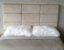 Upholstered Bead head modern Head Board micro suede queen size