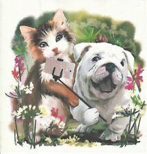 1 Lunch Papier Serviette Napkin (RM564)  Katze mit Hund