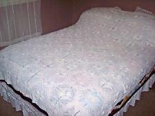Vintage Hand Crochet Floral Antique Lace Heavy Cotton Bedspread Coverlet 96x117