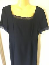 Millers Classic Wear Size 14 Navy Blue Shift Dress Formal or Professional # 615