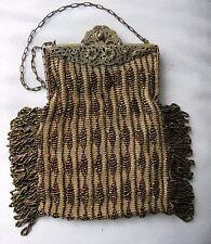 Antique Gold Filigree Frame Knit Peacock Iridescent Brown Bead Side Fringe Purse