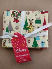 Disney Mickey Mouse Christmas Fat Quarter Bundle x 4 100% Cotton Hobbycraft