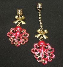 Fd4011 Sweet Women Girl Rhinestone Bow Octopus Earrings Stud Jewelry