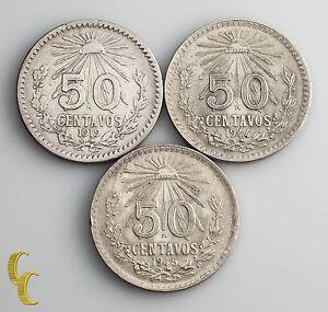 1919, 1944, 1945 Mexico 50 Centavo Lot 3 pc (F-UNC) Condition