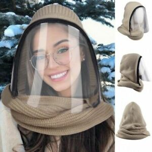 Full Face Mask Scarf Winter Warm Outdoor Sports Headwear Transparent Hooded Hat