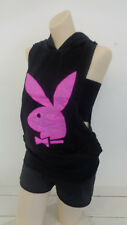 Playboy Bunny Ladies Sleeveless Cover Up with Hoodie Black Coverup