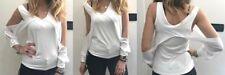 Met Donna Mod.CINTIA Camicia/T-Shirt Blusa Braccia Scoperte Colore:Bianco Tg.L