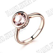 Hot 10K Rose Gold Pave Bezel Setting Morganite & SI/H Real Diamond Wedding Ring