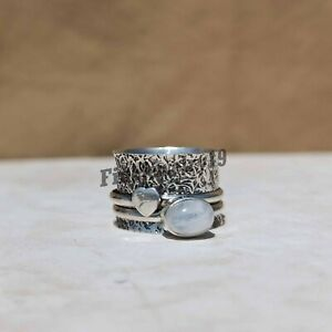 Moonstone Ring 925 Sterling Silver Spinner Ring Mediation Ring Handmade Ring P19