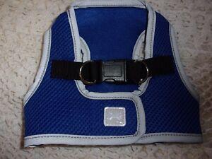 BLUE  Reflective Mesh Harness Vest XS New Pet Dog no choke free step in xsmall
