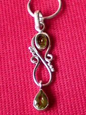 STERLING SILVER 15mm.HOOP EARRING with a 40mm PERIDOT FILIGREE PENDANT £9.50 NWT