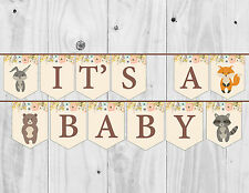 Baby Shower Bunting, It's a Baby, Boy, Girl, Neutral, Banner, Woodland.