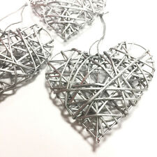 TRIO OF SILVER 10cm RUSTIC RATTAN HANGING LOVE HEARTS - WEDDING GIFT DECORATION