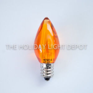 25 C7 Orange LED Christmas Light Bulb Smooth LED Retro Fit Dimmable Box of 25