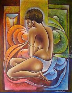 ORIGINAL HAITIAN ART PAINTING CANVAS FAMOUS ADDMASTER CAMILLE MARIUS HAITI 4030