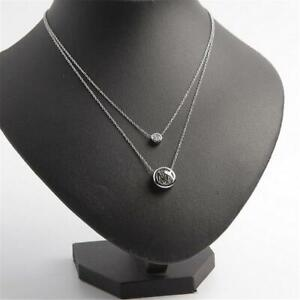Michael Kors Silver Tone Two Row Crystal Logo Pendant Necklace