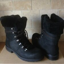 UGG Fraser Exposed Fur Black Water-resistant Leather Combat Boots Size 6 Womens