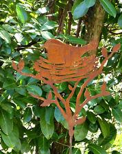"!BLICKFANG! Gartenstab "" Vogel im Nest "" Metall Edelrost 155cm Stecker Stele"