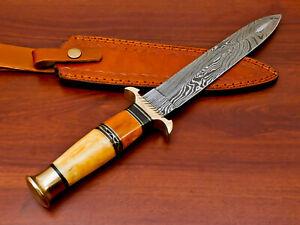 Rody Stan HAND FORGED DAMASCUS ART DAGGER KNIFE - BRASS GUARD - AS-8958