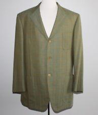 ISAIA Windowpane Blazer Men's 44R 44 Regular Surgeon Cuffs Green Wool Super 140s