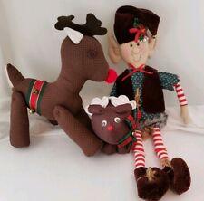 Set of 3 Vintage Hand Made Sewn Holiday Figures Christmas Elf & Reindeer Plush