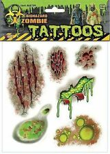 New ZOMBIE BioHazard Temporary Face & Body Tattoos Undead Halloween Costume