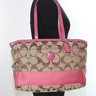 EUC Coach Signature Stripe Baby Bag Diaper Bag Multi Function Tote F17137 Pink