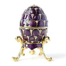 Purple Scallop Wave Faberge Egg w Rich Enamel & Sparkling Rhinestones JewelryBox