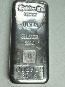 2014 Baird & Co London 1kg (1 Kilo) 999 Fine silver investment bar! LOW SERIAL #