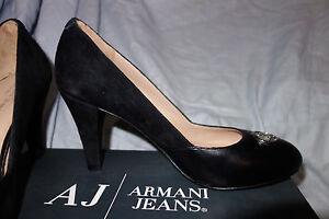Armani AJ Black Leather & Suede High Heal Logo Size 40 SW531/Y1