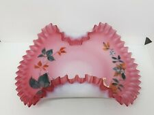 Glass Bride Basket Bowl Hand Painted Pink Satin Ruffled Rolled Edge