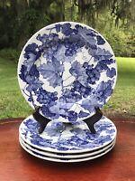 """La Primula Blue Grape Vine Dinner Plate(s) 10 1/4"""" Set of 4 Made in ITALY EUC"""
