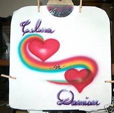 Airbrushed T-Shirt RAINBOW HEARTS S M L XL 2X 3X 4X 5X