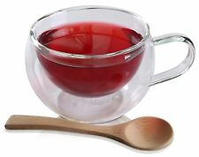 Tea Cup Glass Coffee Cup Mug With Bamboo Spoon Double Insulated
