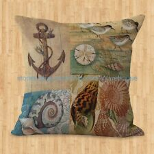US SELLER- decorative pillow covers Sea life marine turtle anchor cushion cover