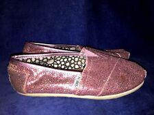 TOMS CLASSICS Pink Sparkle Shiny Boat Deck Ballet Flats Loafers Shoes Women Sz 6