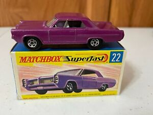 Matchbox Lesney Superfast Dark Purple #22 Pontiac Coupe - Type G2 Box