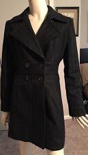 """Bebe"" Black Wool & Nylon Coat w/Blue Pinstripe Double-breasted Size S"