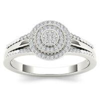IGI Certified 10k White Gold 0.15 Ct Round Diamond Halo Engagement Fashion Ring