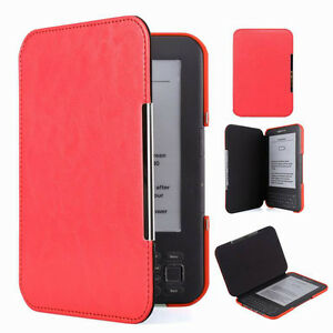 Red Slim Leather Protector Pouch Case Cover For Amazon Kindle 3