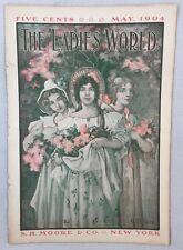 Antique Art Nouveau Era The Ladies' World Magazine May 1904 Flower Girls Burd