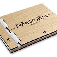 Personalised Wedding Guest Book Rustic Wood Album Custom Wooden Guestbook